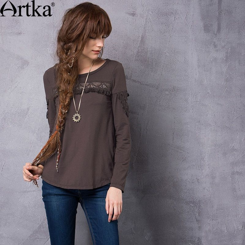 Artka Women's 2017 Autumn Solid Color Ethnic Hollow Out Tassels Patchwork T-shirt Fashion O-Neck Long Sleeve Comfy Tee TA10762Q