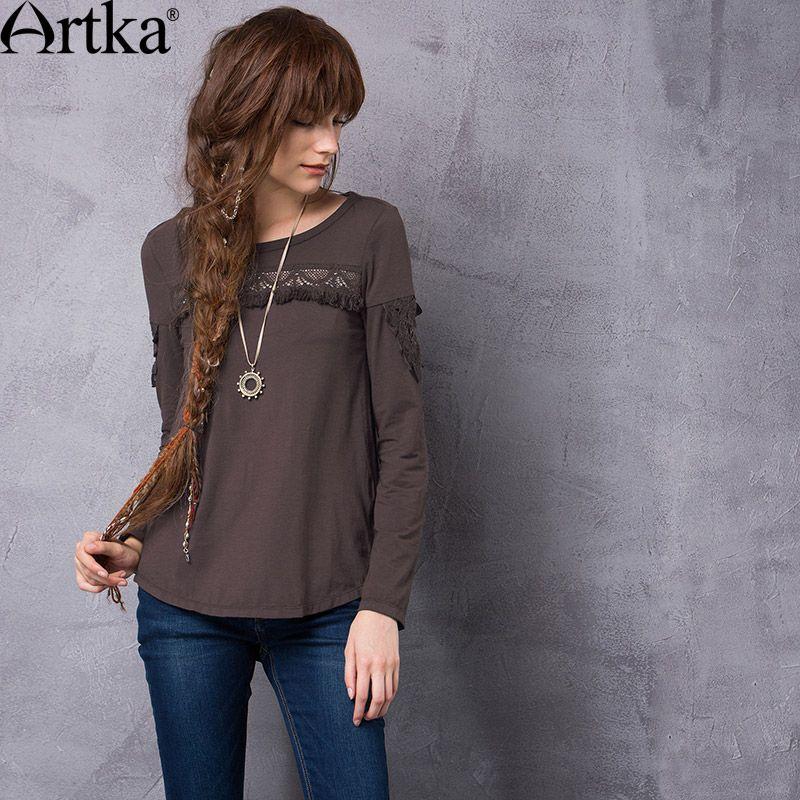 Artka frauen 2017 Herbst Einfarbig Ethnische Aushöhlen Quasten Patchwork T-shirt Fashion O-ansatz Lange Comfy T TA10762Q