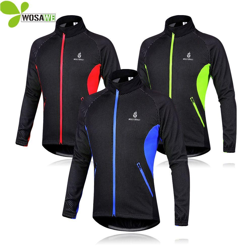 WOSAWE Men Fleece Thermal Winter Wind Cycling Jacket Windproof Bike Bicycle Coat Clothing Long Sleeve Cycling Jerseys