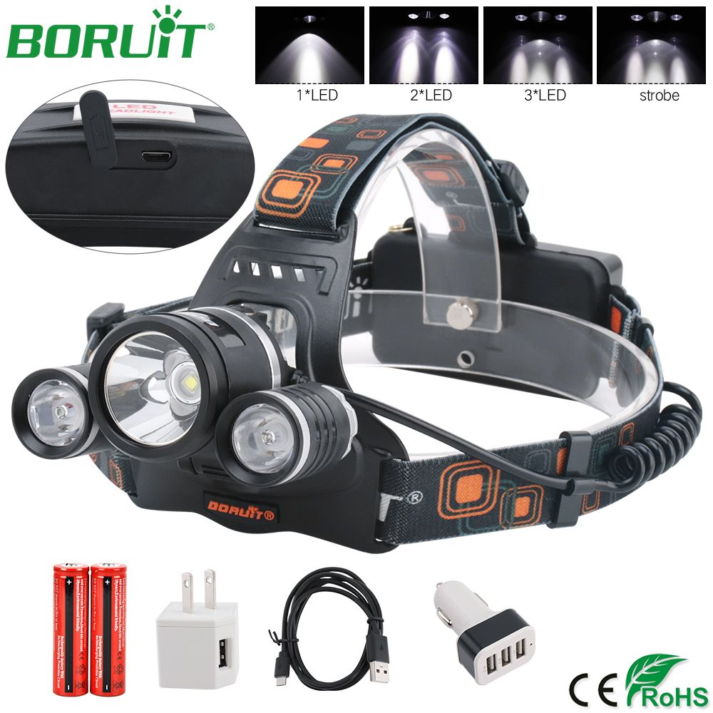 BORUiT 2R5 XM-L2 LED Headlamp Flashlight Rechargeable Waterproof Headlight Camping Hunting Lantern Head Torch Lamp 18650 Battery