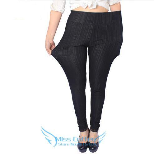 Новинка 2017 года Высокое качество Для женщин Леггинсы для женщин супер эластичные джинсовые мягкой и дышащей 115 кг, XXXXL 5XL Плюс Размеры Для жен...