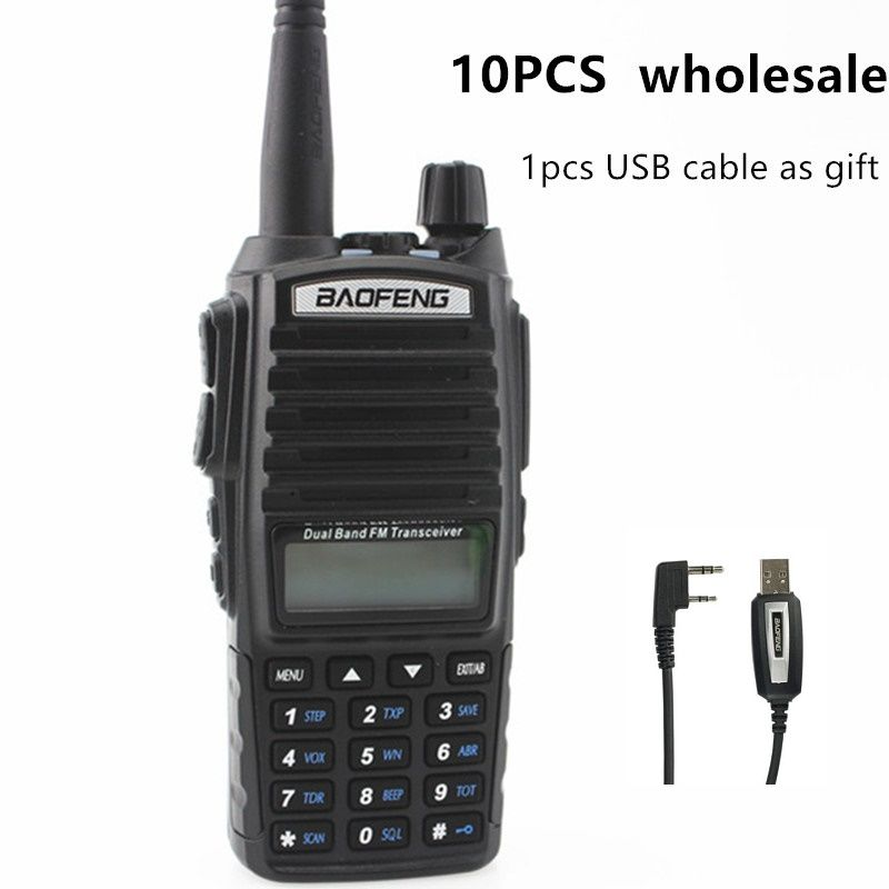 10pcs Baofeng UV-82 Two Way Radio Wholesale 5W Dual Band 137-174/400-520MHz Ham Amateur Walkie Talkie UV82 For Hunting Tracker