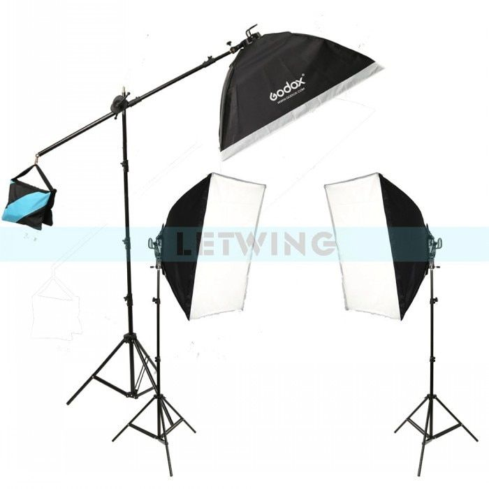 Godox TL-5 Photo Studio Continuous Light Tricolor Head Light Bulbs + Light Stand + Softbox Photography Lighting Kit