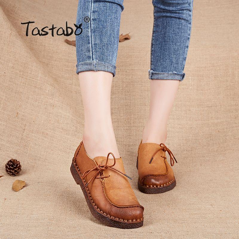 Tastabo Main vintage femmes chaussures en cuir véritable femelle mocassins mocassins doux Confortable casual chaussures appartements Plus La Taille