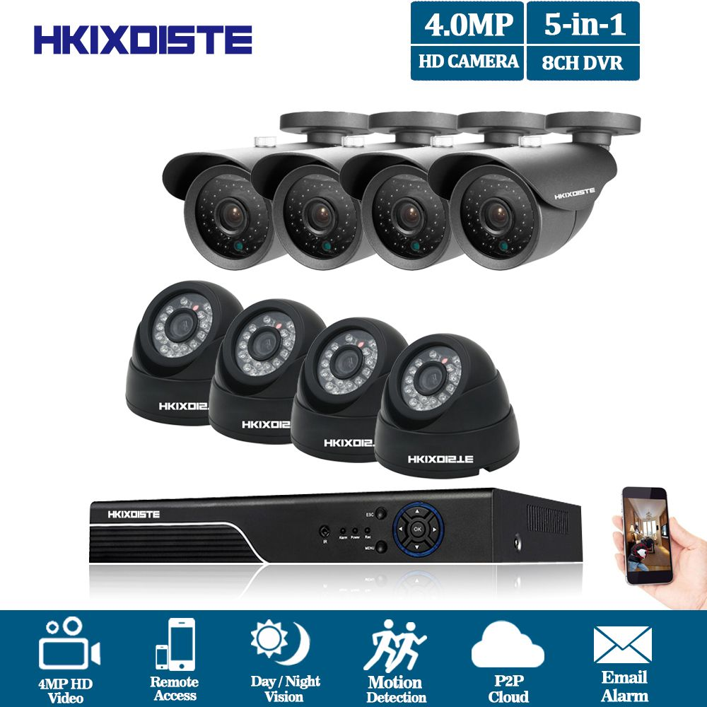 HKIXDISTE 4mp CCTV Surveillance Kit 4mp Security Camera System 8ch DVR 4MP 2K Video Output Kit CCTV Easy Remote View on Phone