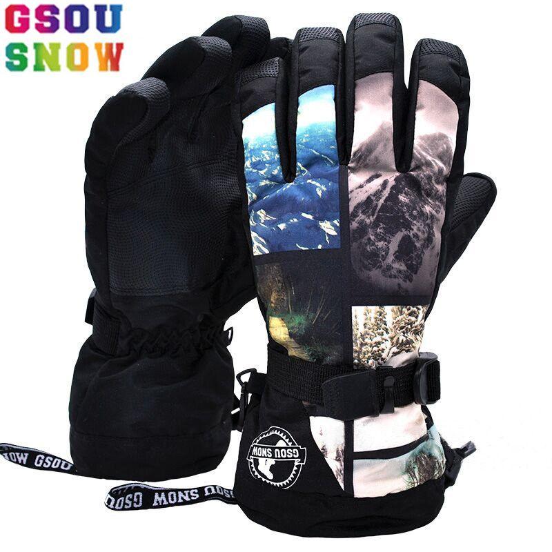 GSOU SCHNEE Winter Ski Handschuhe Männer Bunte Wärme Camouflage Snowboard Handschuhe-30 Grad Im Freien Wasserdichte Männliche Schnee Handschuhe 2017