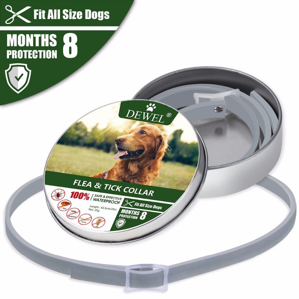 Dewel collier pour chien Anti puces moustiques tiques insecte étanche à base de plantes collier pour animaux de compagnie 8 mois Protection accessoires pour chien