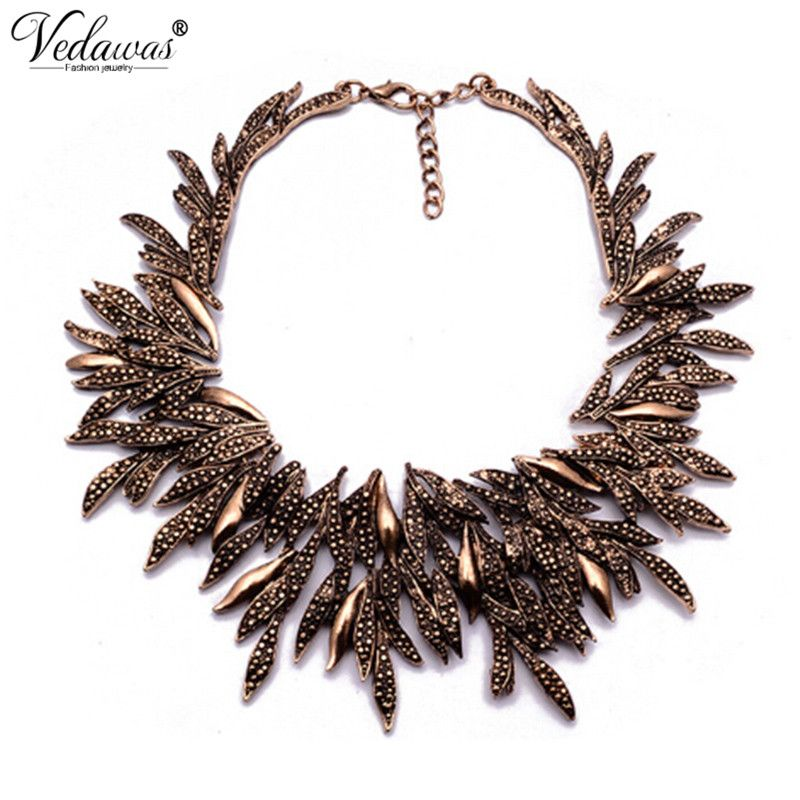 2017 New Design Summer Style Fine Jewelry Vintage Statement Necklace Chunky Leaf Alloy Choker Necklace Collier Femme XG742