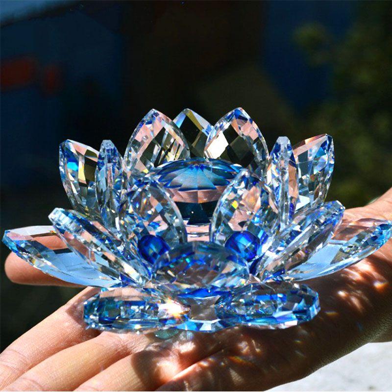 80mm Quartz Cristal Fleur De Lotus Artisanat Presse-papiers En Verre Fengshui Ornements Figurines Accueil Noce Décor Cadeaux Souvenir