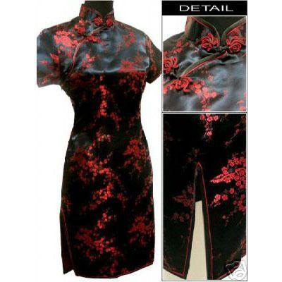 Noir rouge chinois femmes Satin Cheongsam Qipao robe de soirée Mini taille : S M L XL XXL XXXL 4XL 5XL 6XL