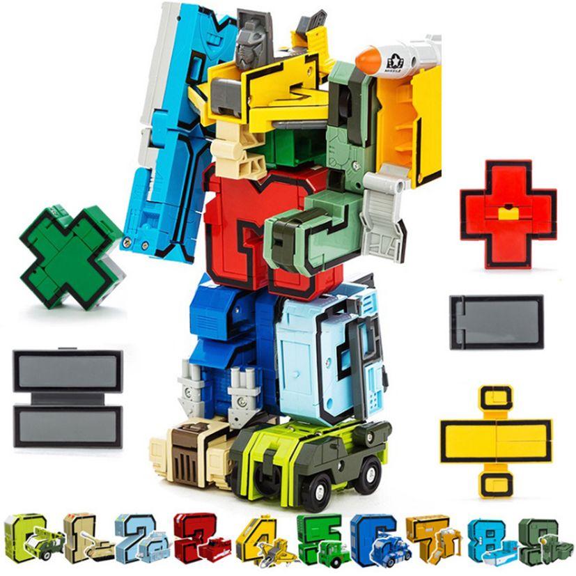 15 pièces assembler des blocs de construction jouets éducatifs Figure d'action Transformation numéro Robot déformation Robot jouet pour enfants