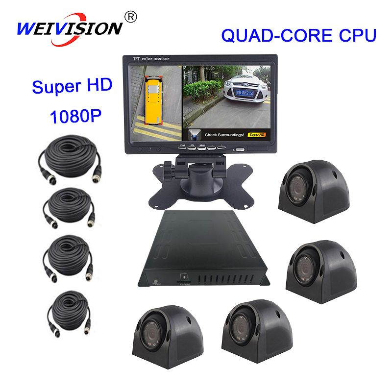 WEIVISION Super HD 1080P 360 Degree bird View Panoramic View, Car DVR for Bus School bus Truck Fire engine, gift 16GB USB disc