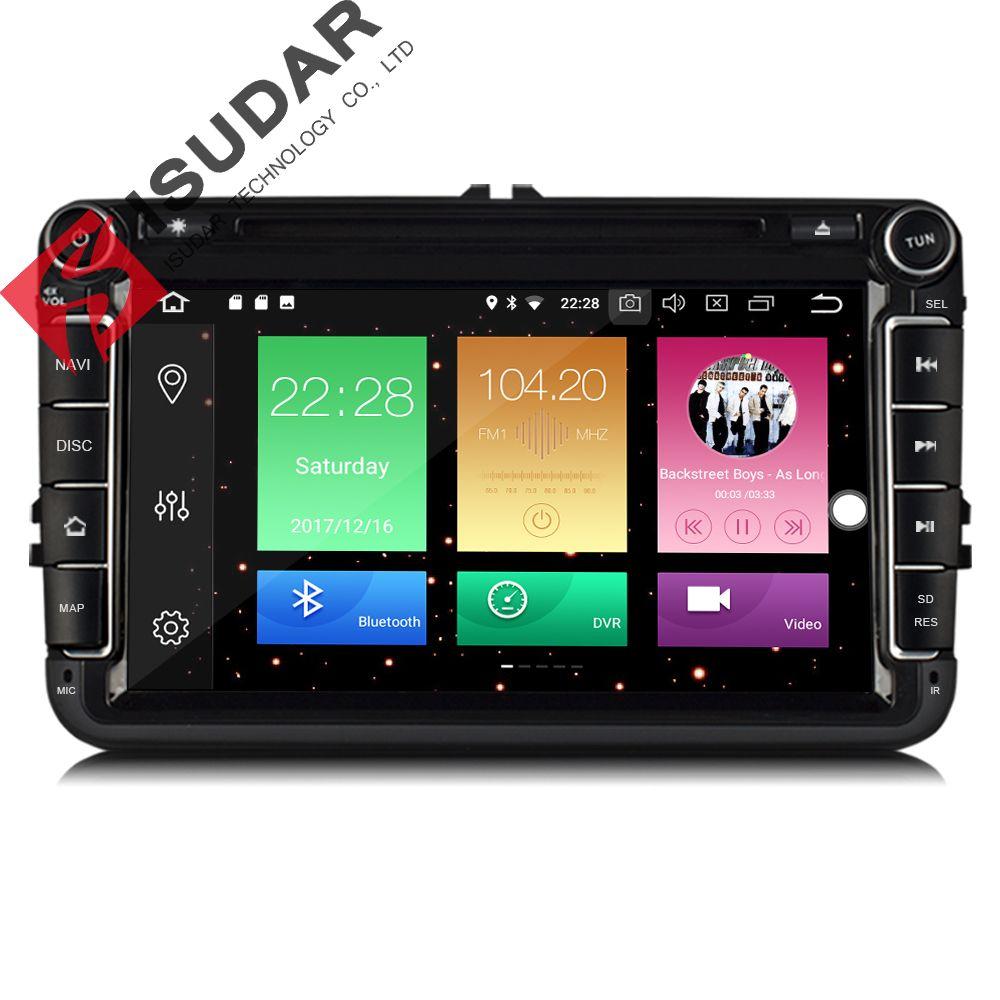 Isudar Auto Multimedia-player GPS Android 8.0 2 Din Für VW/Volkswagen/POLO/PASSAT/Golf Rückansicht kamera Kapazitiven Touchscreen