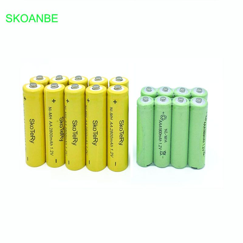 10 pièces AA 2800mAh 1.2V Piles Rechargeables Ni-MH + 10 pièces AAA 1800mAh 1.2V Batteries Rechargeables