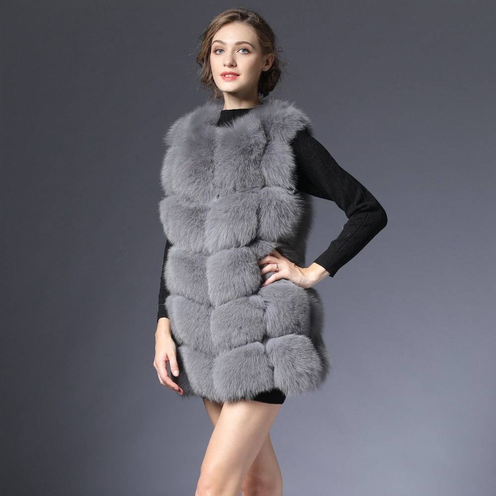 New Real Fur Vest Women Winter black Gray Fox Vest Waistcoat natural Waistcoat 70CM natural Real Fur Vest for Female women DHL