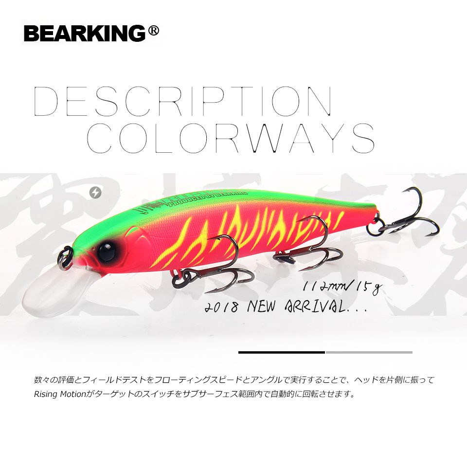 Bearking 2018 New hot model 112mm 15g fixed weight system fishing lures hard bait dive 1.5m quality wobblers minnow