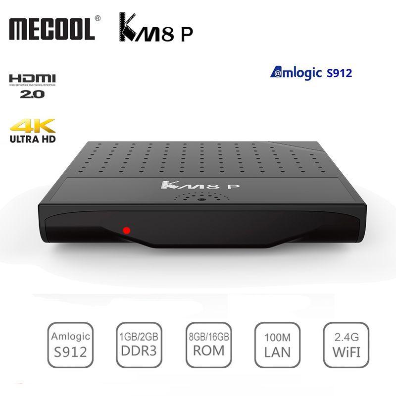 Mecool KM8 P Amlogic S912 Android 7.1 boîtier de smart tv ROM 1G/2G RAM 8G/16G 2.4G WiFi 4 K rouge à lèvres de charme HD Set Top Box Lecteur Soutien 3D