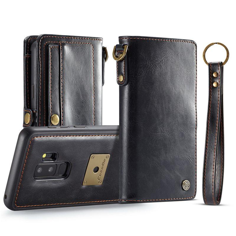 Housse En Cuir de luxe Pour Samsung Galaxy S9 Plus 2 en 1 avec Porte-Cartes Anneau Corde de Coup de Couverture Arrière Pour Samsung S9 Plus cas