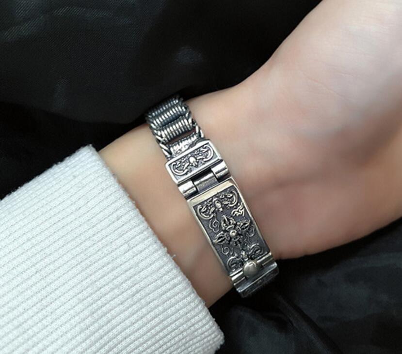 Thai silver bracelet domineering tanks chain 925 sterling silver vintage Chain & Link Lock bracelets