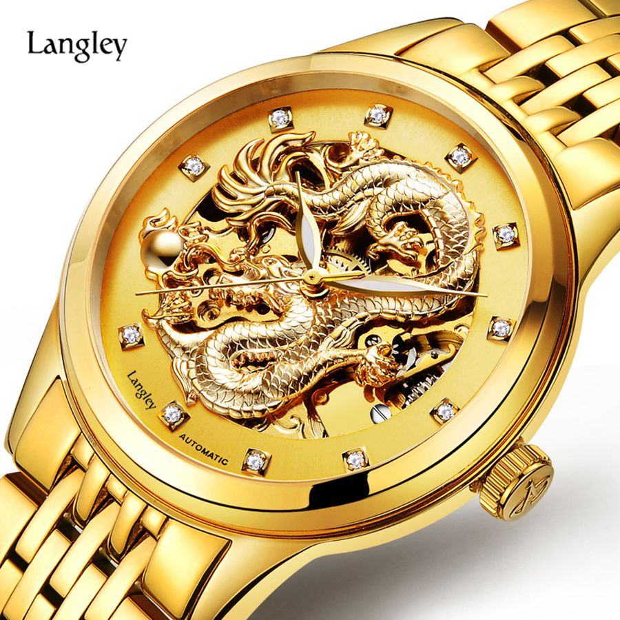LANGLEY 2017 New Automatic Watches Men Luxury Business Watch 3D Carving Dragon Gold Skeleton Watch Male Diamond Night <font><b>vision</b></font>