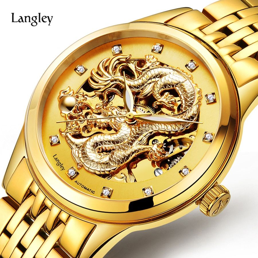 LANGLEY 2017 New Automatic Watches Men Luxury Business Watch 3D Carving Dragon Gold Skeleton Watch Male Diamond Night vision