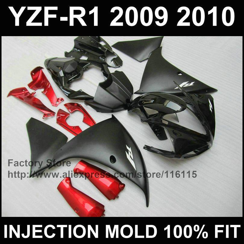 Kundenspezifische spritzgussform ABS verkleidungen für YAMAHA 2009 2010 2011 YZF R1 09-11 YZF1000 matt schwarz rot YZFR1 motorrad verkleidung teile
