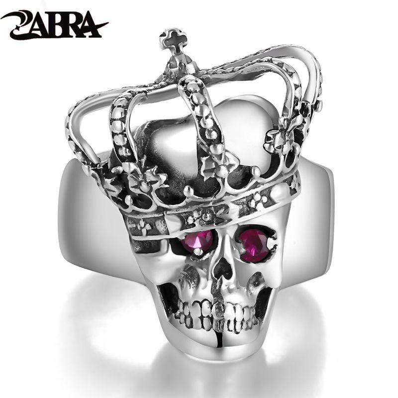ZABRA Luxury Solid 925 Sterling Silver Skull Crown Steampunk Rings for Men Women Vintage Retro Gothic Handmade Biker Jewelry