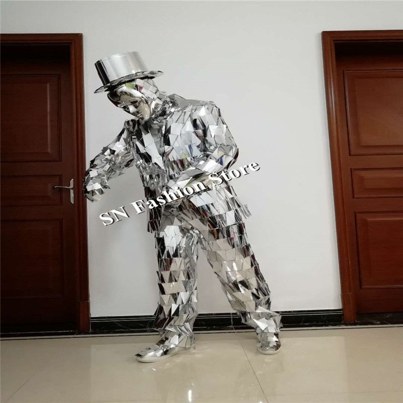 LZ19 Men Silver Mirror suit Catwalk Show Stage wear Ballroom dance Costumes Clothes Party Performance DJ outfits bar jacket mask