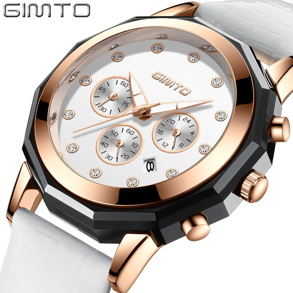 GIMTO Brand Luxury Crystal Women Watches Rose Gold Clock Leather Dress Bracelet Lovers Lady Quartz Watch Sport relogio feminino
