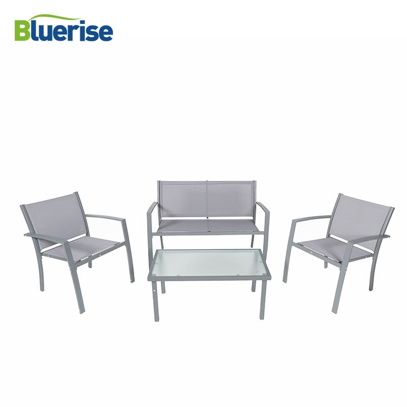 BLUERISE 4 Piece Outdoor Patio Furniture Set Textilene Fabric All-weather Water Proof Grey Armored glass easy care clean