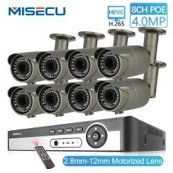 MISECU 8CH 4MP Security Camera System H.265 POE IP Camera 2.8-12mm Maunally Lens Zoom Outdoor Waterproof Video Surveillance Kit
