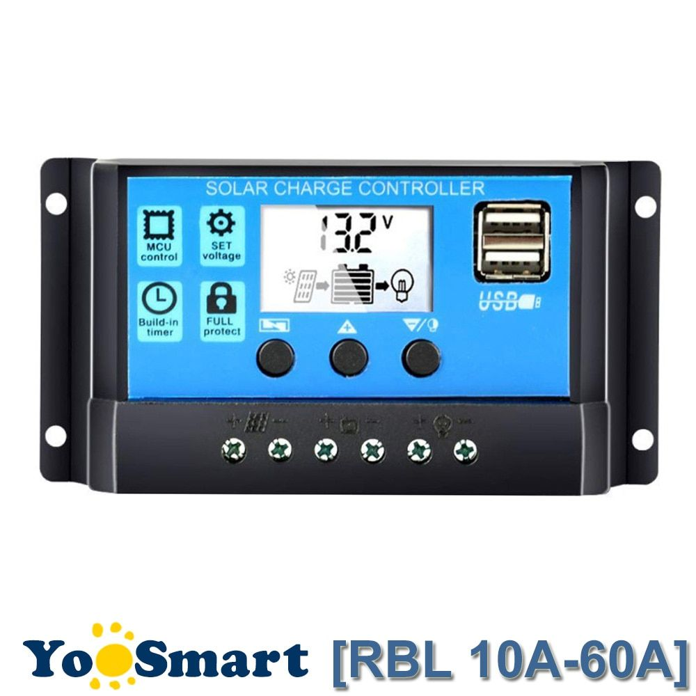 60A/50A/40A/30A/20A/10A 12V 24V Auto Solar Charge Controller PWM With LCD Dual USB 5V Output Solar Cell Panel Regulator PV Home