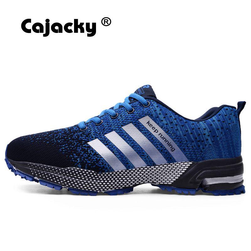 Cajacky chaussures de course hommes baskets grande taille 47 46 été respirant maille hommes chaussures de Sport en plein air athlétique formateurs léger