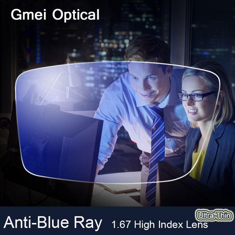 Anti-Blue Ray Objektiv 1,67 Hoch Index Ultradünne Myopie Prescription Optische Linse Gläser Für Augen Schutz Lesen Brillen
