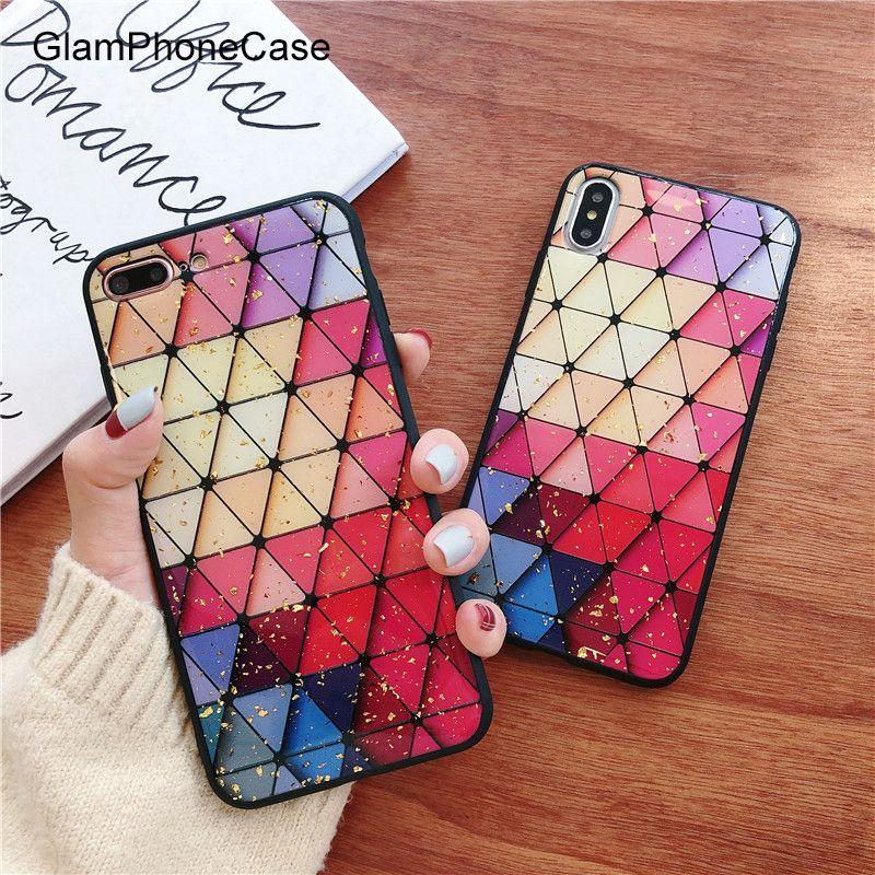 Glam Phone Case Colored Diamond Lattice Gold Foil Phone Case For iPhone XS Max XR XS 8 8 plus 7 7plus 6/6S Plus Soft Tpu Cover