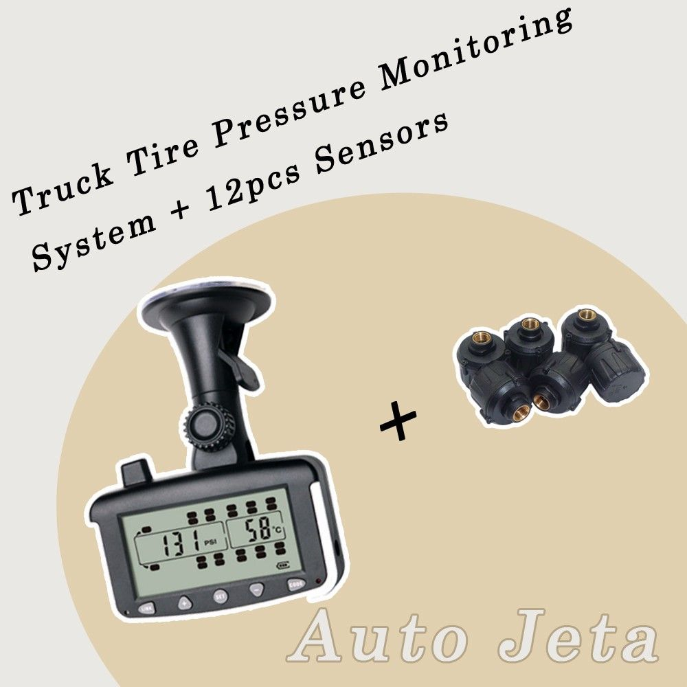 Tire Pressure Monitoring System Car TPMS with External 6/8/10/12 Sensors for Truck Trailer,RV,Bus,Miniature passenger car