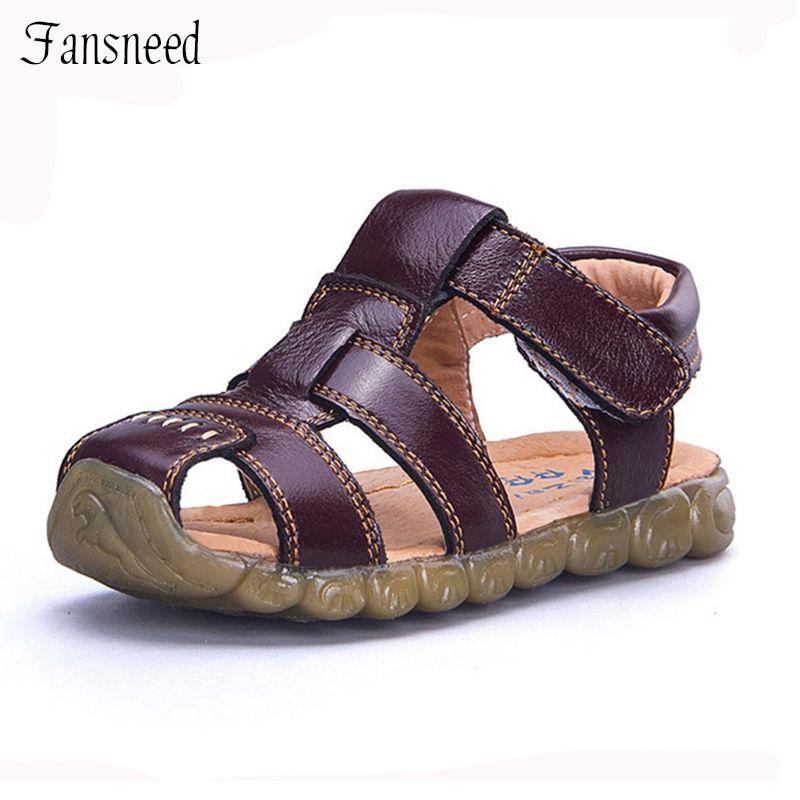 Chaussures enfants en cuir véritable vachette sandales demi trou unique chaussures décontracté confortable été mâle
