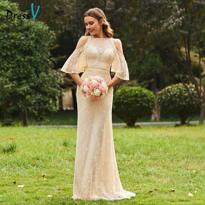 Vestido largo vestido de dama de Scoop Masajeadores de Cuello medio mangas a-line Encaje simple elegante de encargo Vestidos de fiesta vestido de Dama
