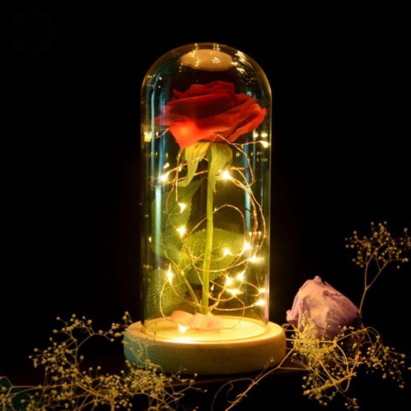 Cadeau d'anniversaire Beauté et la Bête Rouge Rose w/Pétales Tombés dans un Dôme En Verre sur un Socle En Bois pour Noël Cadeaux de Valentine