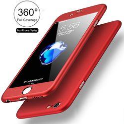 FLOVEME Cas Pour iPhone 7 7 Plus le Cas 360 De Protection Complet PC Cas pour iPhone 6 s 8 Plus X 10 5 5S SE Coque Avec Trempé verre