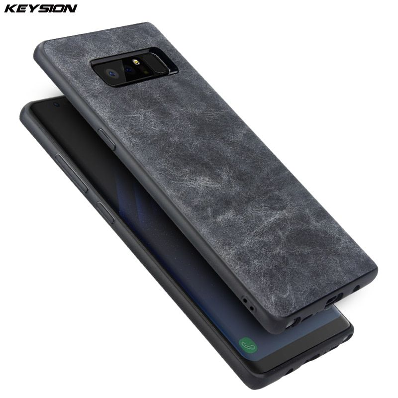 KEYSION Phone Case for Samsung Galaxy Note 8 Luxury Vintage PU Leather Case TPU silicone Soft Edge Back cover for Samsung N950