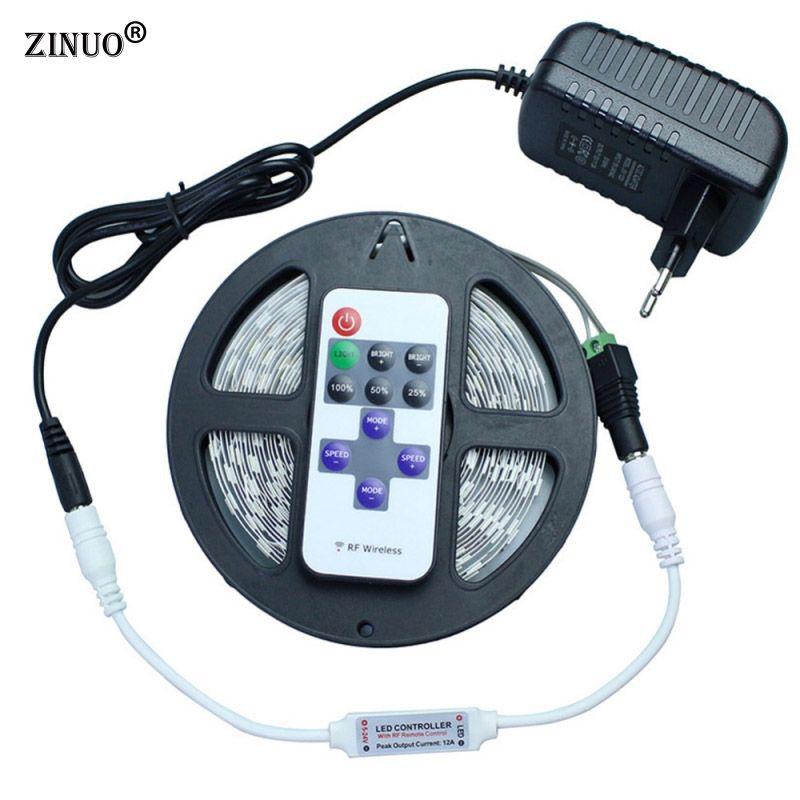 ZINUO DC12V 5630 5730 5 M 300led Flexible LED Light Strip Non-imperméable à l'eau + 12 V 2A Puissance Adaptateur + 11Key RF Contrôleur