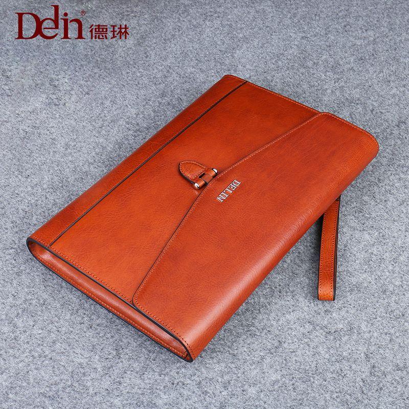 delin 249 Derin handbag, male tide, real leather business casual hand bag, male leather envelope, hand grip bag