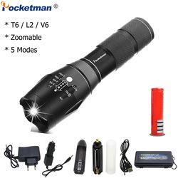 XPL-T6/L2/V6 LED Flashlight 12000LM Zoomable led torch for 18650/AAA battery Waterproof linterna led flashlights for Camping