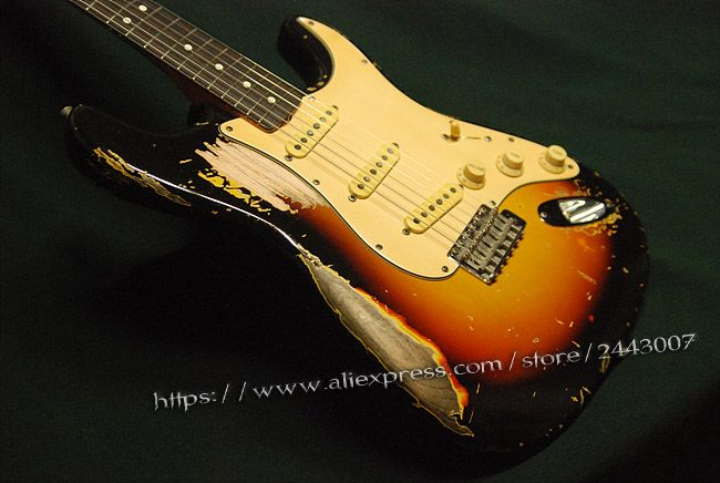 GC Custom Shop Red Hot Chili Peppers John Frusciante 1962 Sunburst Schwere Relic E-gitarre