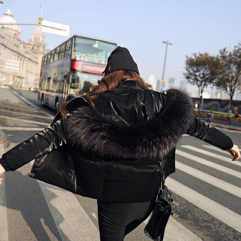 Women 2017 Korea ladies fashion designer short duck down coat with large raccoon fur collar hood shiny flare jackets black blue