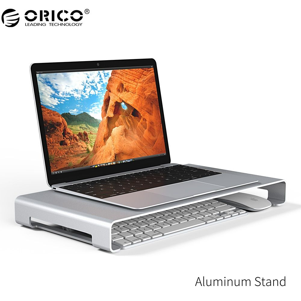ORICO Aluminum Laptop Monitor Bracket Universal Aluminium Steady Monitor Laptop/PC Stand, with Keyboard Storage