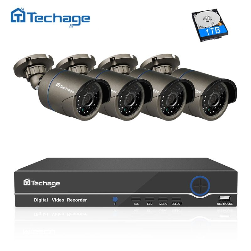 Techage 8CH 1080P HDMI NVR POE CCTV System 4PCS 2MP Onvif IP Camera Outdoor Waterproof Video Surveillance System Motion Detect