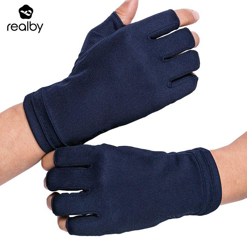 REALBY été gants de conduite sans doigts homme mince écran solaire solide poignet gants UV Protection mitaines Luvas de inverno militaire
