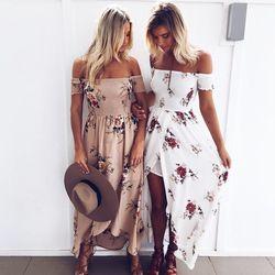Boho estilo largo vestido mujeres de hombro playa verano vestidos impresión floral vestido Maxi blanco de la gasa de la vendimia vestidos de festa